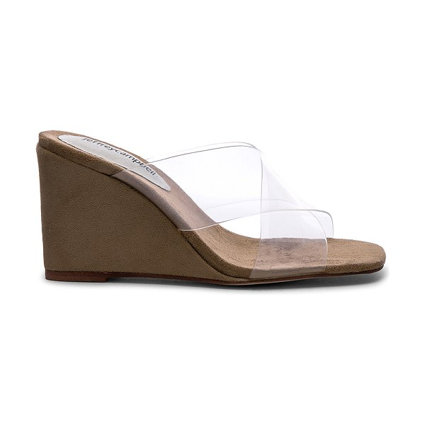 Jeffrey Campbell mystical wedge in clear & natural suede