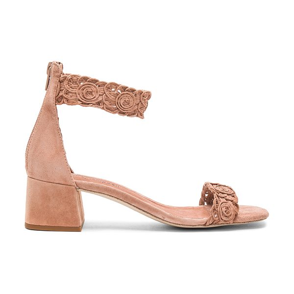 Jeffrey Campbell Narya Sandal in blush suede - Suede upper with man made sole. Back zip closure. Woven...