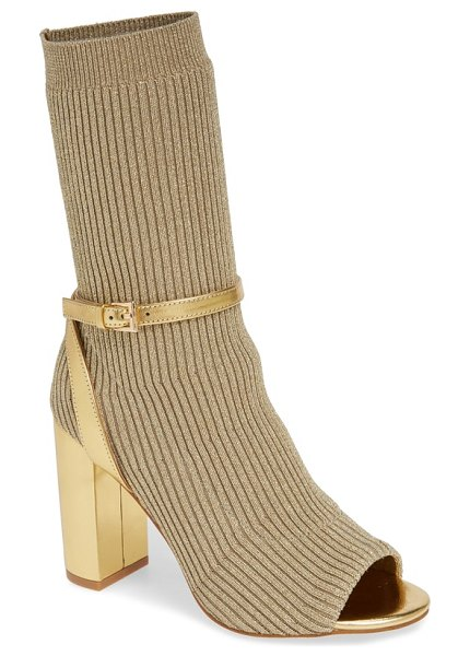 Jeffrey Campbell nila bootie in metallic - A rib-knit shaft adds modern allure to an open-toe boot...