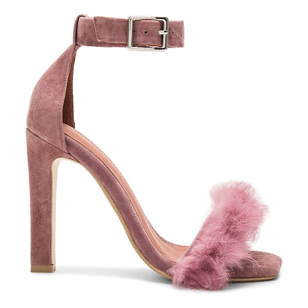 Jeffrey Campbell Obus FT Heels with Rabbit Fur in dusty rose suede combo - Suede and dyed rabbit fur upper with man made sole. Fur...