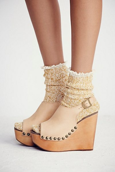 Jeffrey Campbell Olivia wedge in natural - Soft leather open toe wedges with an elastic back for...