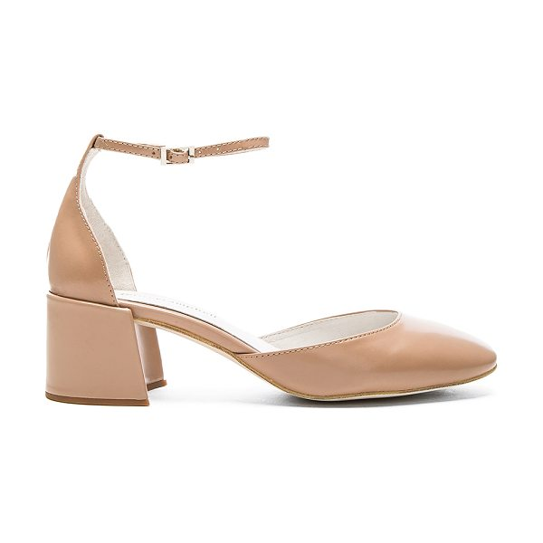 Jeffrey Campbell Osiel Heel in beige - Leather upper with man made sole. Ankle strap with...