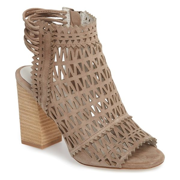 Jeffrey Campbell ottawa sandal in taupe suede - Layered slingback cords, geometric cutouts and pinked...
