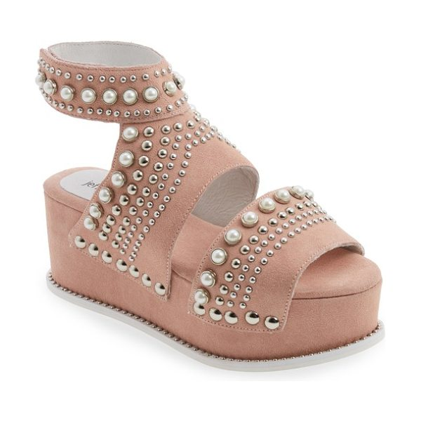 Jeffrey Campbell palmira embellished platform sandal in pink suede - A galaxy of imitation pearls and silvertone studs of all...