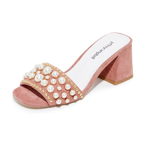 Jeffrey Campbell parr embellished sandals in dark pink - Imitation pearls and polished studs bring glamorous...