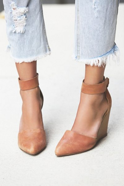 Jeffrey Campbell Peaks point wedge in tan - Leather nubuck pointy toe wedge with easy adjustable...
