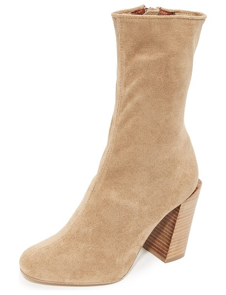 Jeffrey Campbell perouze stretch ankle booties in tan - Formfitting Jeffrey Campbell booties crafted in a...