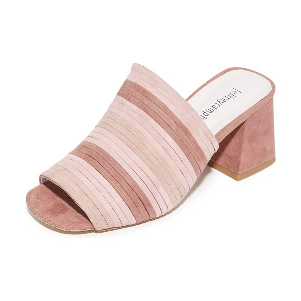 Jeffrey Campbell perpetua ii mules in pink multi - Vibrant suede stripes compose these Jeffrey Campbell...