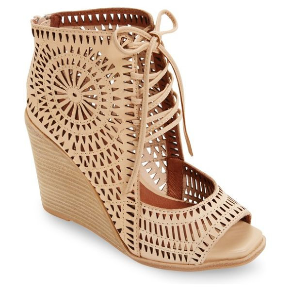 JEFFREY CAMPBELL rayos perforated wedge sandal in nude leather - A celebration of angles and textures radiates...