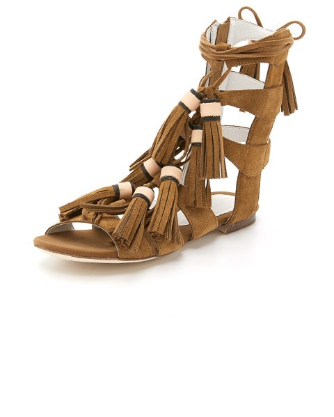 Jeffrey Campbell Redondo sandals in brown - Tassels detail the slim laces on these suede Jeffrey...