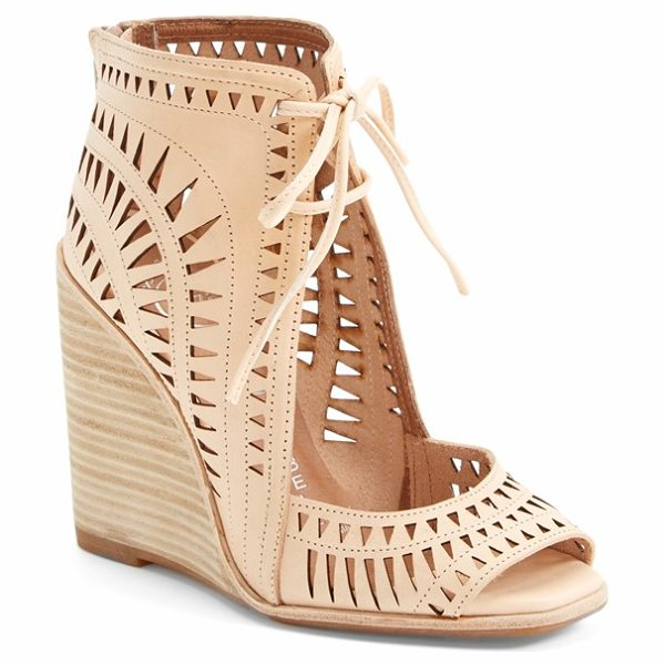 Jeffrey Campbell 'rodillo-hi' wedge sandal in nude - Eye-catching geometric cutouts call attention to a...