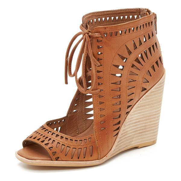 Jeffrey Campbell rodillo wedge sandals in tan - Geometric cutouts detail these peep toe Jeffrey Campbell...
