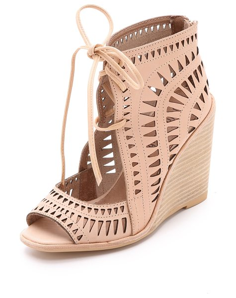 Jeffrey Campbell Rodillo wedge sandals in nude - Laser cut accents detail these open toe Jeffrey Campbell...