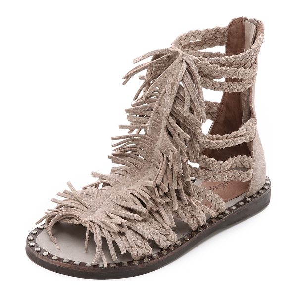 Jeffrey Campbell Santana fringe sandals in sand - Shaggy fringe connects the braided straps on these...