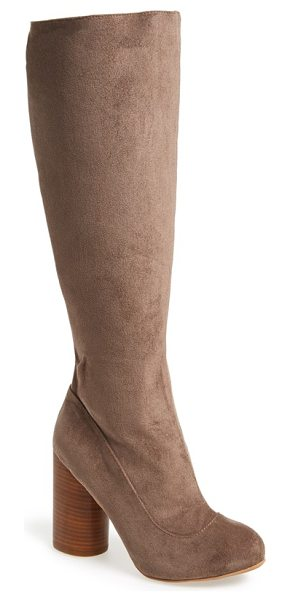 Jeffrey Campbell sequel in taupe stretch suede - A rounded, stacked heel elevates a suave go-to boot...