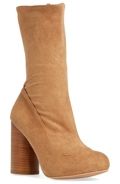 Jeffrey Campbell sequel mid calf boot in camel stretch suede - A rounded, stacked heel amplifies the modern,...
