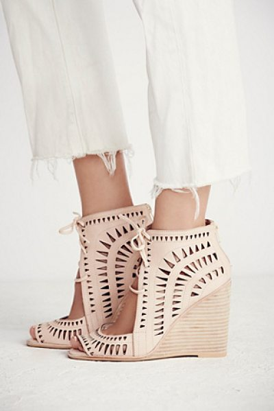 JEFFREY CAMPBELL Serena wedge - Laser cut leather wedges featuring an open toe...