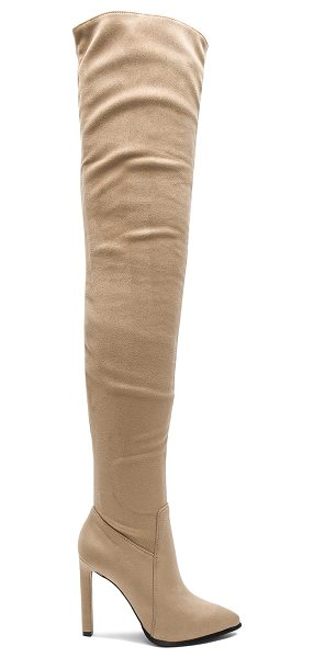 Jeffrey Campbell Sherise Boots in beige suede - Faux suede upper with man made sole. Side zip closure....