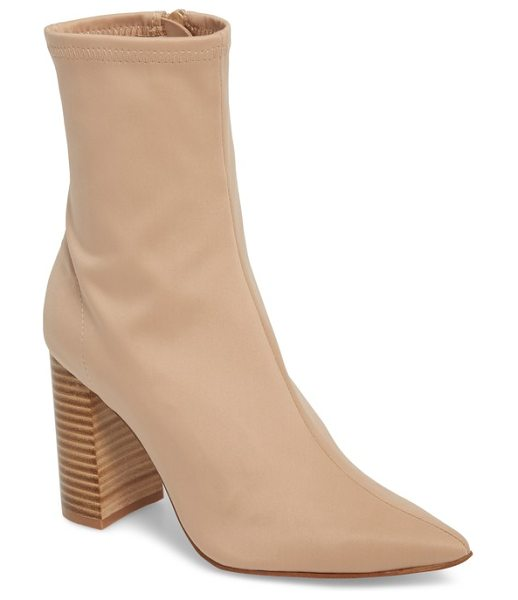 Jeffrey Campbell siren bootie in beige fabric - Dial up the drama in a pointy-toe boot lofted by a...