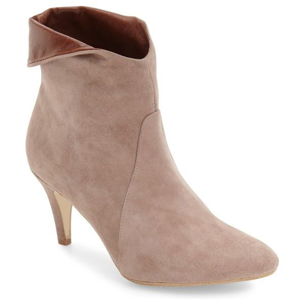 Jeffrey Campbell sonika asymmetrical cuff bootie in taupe suede brown - A smart almond toe and a low tapered heel balance a...