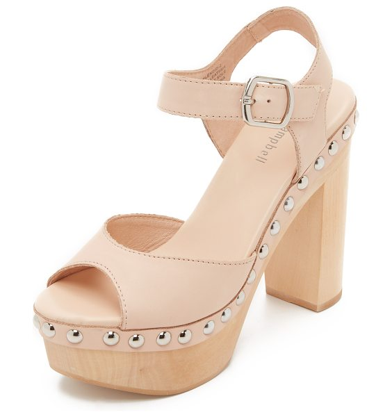 Jeffrey Campbell splendid sandals in natural - Polished studs trim the wooden platform on these smooth...