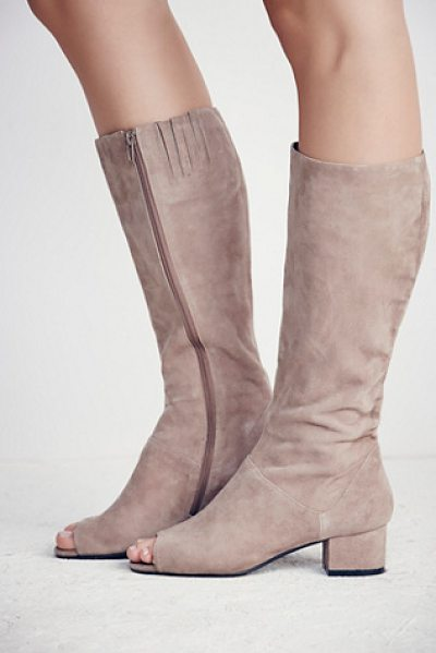 Jeffrey Campbell Studio mod heeled knee boot in taupe - Knee-high suede boots featuring a mod design with open...