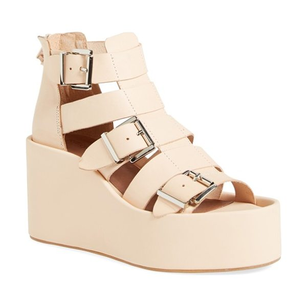 Jeffrey Campbell thetis platform gladiator sandal in natural - A row of gleaming silvertone buckles adds metallic flair...