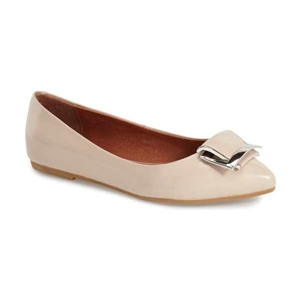 Jeffrey Campbell torcer pointy toe flat in beige box leather - A polished buckle ornament lends a vintage-chic touch to...