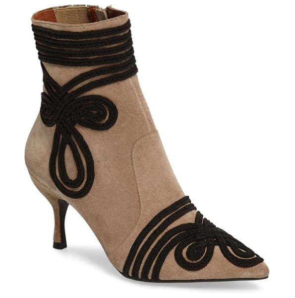Jeffrey Campbell twirl bootie in taupe/ black suede - Swirling, elegant accents add to the sophistication of a...