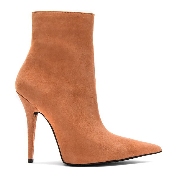"Jeffrey Campbell Vedette Bootie in blush - ""Suede upper with man made sole. Side zip closure. Heel..."
