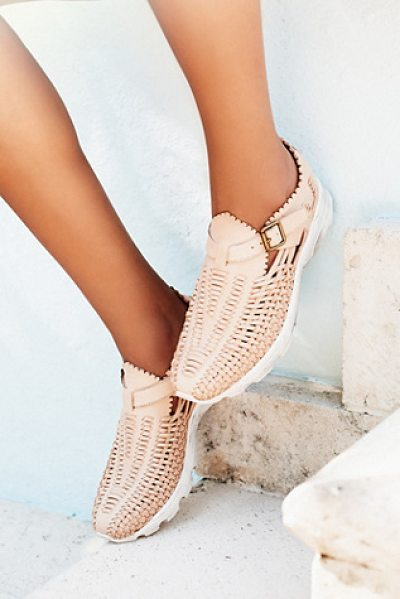 Jeffrey Campbell West village sneaker in natural - Woven leather slip on sneakers with an adjustable buckle...