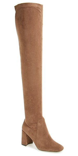 Jeffrey Campbell 'cienega' over the knee boot in taupe suede - A square toe and a sculptural wrapped heel lend...