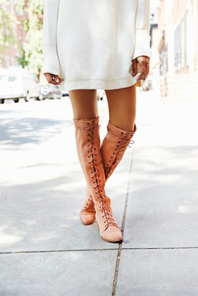 Jeffrey Campbell + Free People Joe lace up otk boot in blush suede - Leather over-the-knee lace-up boots. Metal eyelet...