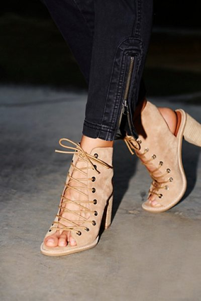 Jeffrey Campbell + Free People Minimal lace up heel in nude suede