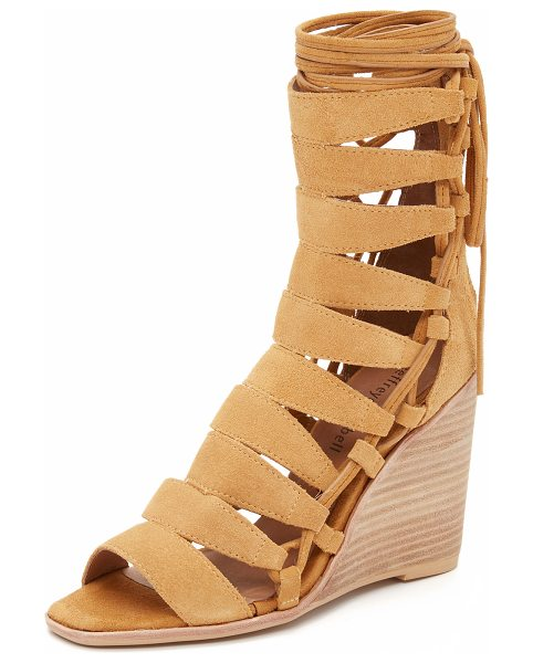 JEFFREY CAMPBELL Zaferia wedge sandals in camel - Laces detail the sides of these suede Jeffrey Campbell...