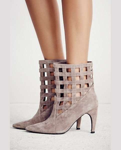 Jeffrey Campbell + Free People After the storm heel boot in taupe suede - Bring these luxe suede heeled booties from day to night....