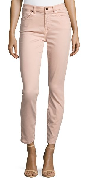 Jen7 Brushed Sateen Skinny Ankle Jeans in pink - Jen7 by 7 For All Mankind jeans in brushed sateen...