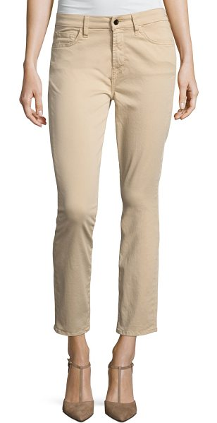 Jen7 Brushed Sateen Skinny Ankle Jeans in light almond - JEN7 by 7 For All Mankind jeans in brushed sateen. Mid...