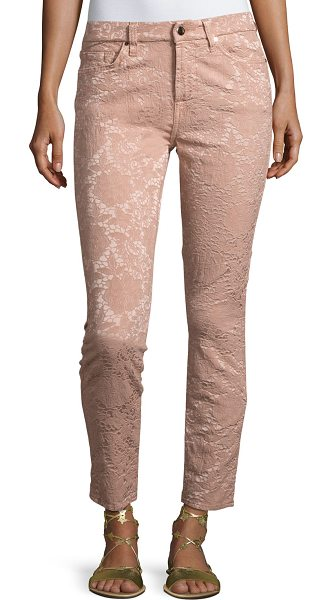 Jen7 Perforated Jacquard Skinny Ankle Jeans in blush - JEN7 by 7 For All Mankind jeans in perforated jacquard....