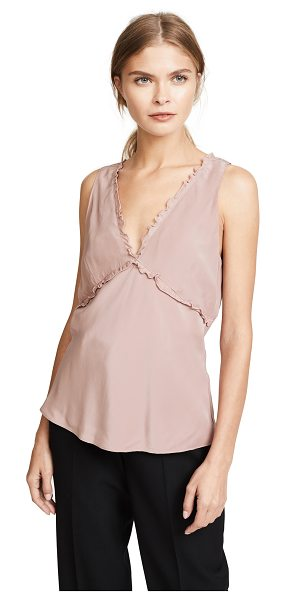 Jenni Kayne silk ruffle top in nude - Lettuce-edge ruffles lend a soft finish to this silk...