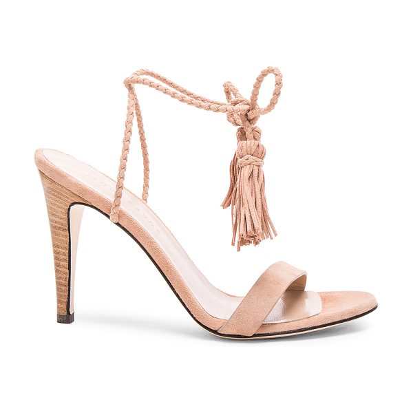 Jenni Kayne Suede Tassel Heels in natural - Suede upper with leather sole. Made in Italy. Approx...