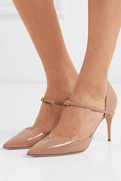 Jennifer Chamandi eric 85 patent-leather pumps in neutral - The detachable strap threaded through Jennifer...