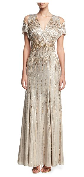 Jenny Packham Beaded Chiffon Cold-Shoulder V-Neck Gown in silver beige - Jenny Packham gown in beaded chiffon. V neckline. Cold...