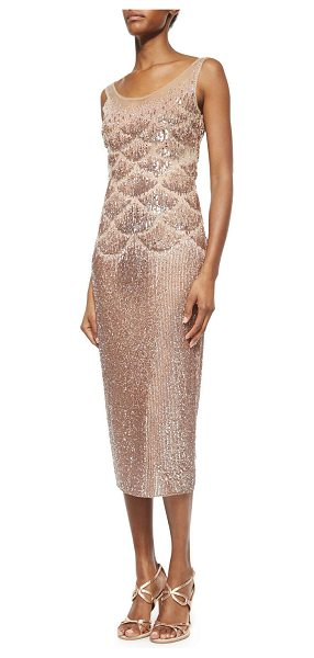 Jenny Packham Beaded fishscale illusion cocktail dress in antique pink - Jenny Packham allover beaded dress with fishscale...