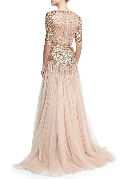 "Jenny Packham Beaded Short-Sleeve Tulle Gown in nude - Jenny Packham beaded tulle gown. Approx. 70""L down..."