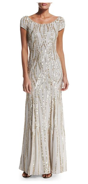 Jenny Packham Cap-Sleeve Embellished Gown in pearl - Jenny Packham sequined georgette gown. Round neckline;...