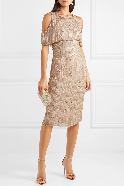 Jenny Packham cold-shoulder embellished chiffon dress in gold