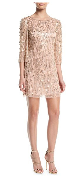 Jenny Packham Elbow-Sleeve Straight Beaded Mini Cocktail Dress in light pink