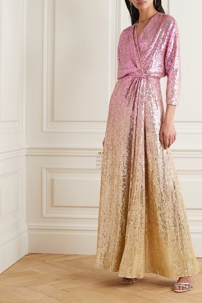 Jenny Packham gina ombré sequined chiffon wrap gown in pink