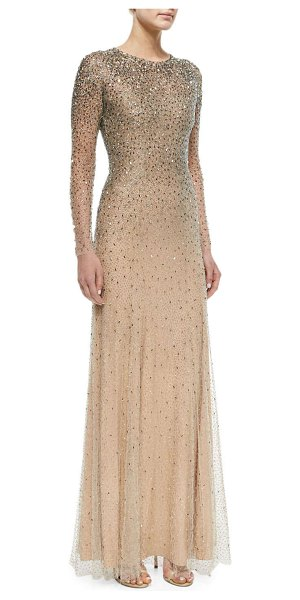Jenny Packham Long-Sleeve Embellished Gown in silver - Jenny Packham beaded illusion gown. Jewel neckline....